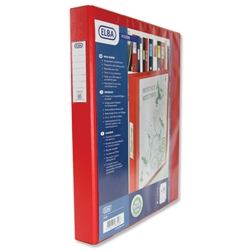 Elba Vision Ring Binder PVC Front Pocket 4 O-Ring Size 30mm A3 Portrait Red Ref 100080863 - Pack 5 - Item image