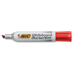 Bic 1781 Whiteboard Marker Chisel Tip Line Width 3.5-5.5mm Red Ref 1199178103 - Pack 12