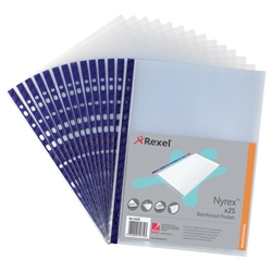 Rexel Nyrex Pocket Reinforced Blue Strip Top-opening A4 Clear Ref 12233 - Pack of 25