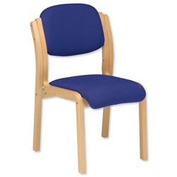 Trexus Side Chair Wood Upholstered Stackable Seat W405xD500xH480mm Blue