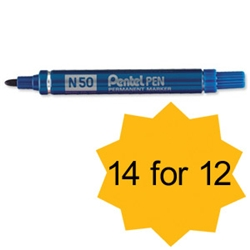 Pentel N50 Permanent Marker Bullet Tip 1.5-2mm Line Blue Ref N50-C - Pack 12 and 2 FREE - Item image