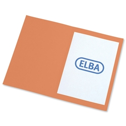 Elba Square Cut Folder Recycled Heavyweight 310gsm Foolscap Orange Ref 100090220 [Pack 100]