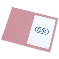 Elba Square Cut Folder Recycled Heavyweight 310gsm Foolscap Pink Ref 100090221 [Pack 100]