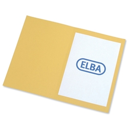 Elba Square Cut Folder Recycled Heavyweight 310gsm Foolscap Yellow Ref 100090223 [Pack 100]