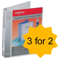 Snopake Executive Ring Binder 4 D-Ring 25mm A4 Clear Ref 13386 [Pack 10] [3 for 2] - Item image