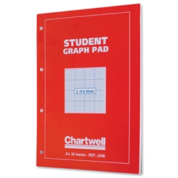 Chartwell Student Graph Pad A4 Red Cover Ref J34BZ - Pack 10