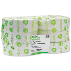 Maxima Toilet Roll Jumbo 2-Ply Core 76mm Length 410m White Ref VMAX2592 - Pack 6