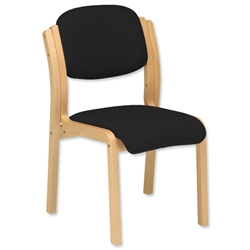 Trexus Side Chair Wood Upholstered Stackable Seat W405xD500xH480mm Black - Item image