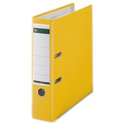 Leitz Lever Arch File Plastic 80mm Spine Foolscap Yellow Ref 11101025 [Pack 10] - Item image