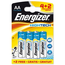 Energizer High-tech Battery Alkaline LR06 1.5V AA Ref 635281 - Pack 4 and 2 FREE - Item image