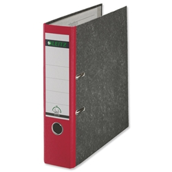 Leitz Standard Lever Arch File 80mm Spine Foolscap Red Ref 1082-25 [Pack 10]