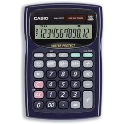 Casio WM-220T Waterproof Calculator Tax Currency Converting 12 Digit Solar-Powered Ref WM-220T-S-UH - Item image