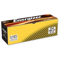 Energizer Industrial Long Life D Battery LR20 Ref 636108 - Pack 12