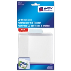 Avery CD Pocket NoteTab Repositionable 130x151mm Clear with Pastel Blue Tab Ref 8362 - Pack 5 - Item image