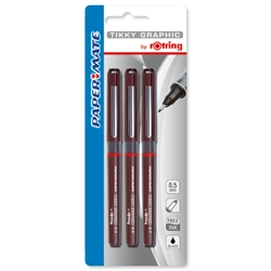 Rotring Xonox Graphic Drawing Pens Fibre-tip 0.3mm 0.5mm 0.7mm Ref S0814890 - Wallet of 3