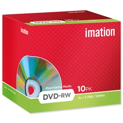 Imation DVD-RW Rewritable Disk Cased 4x Speed 120min 4.7GB Ref i21061 - Pack 10