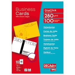 DECAdry Deluxe Business Cards Snap-back Inkjet Smooth-edged 280gsm 85x54mm Matt Ref DPOCC3727 - Pack 100 - Item image