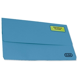Elba Fusion Document Wallet Recycled Manilla Heavyweight 380gsm Foolscap Blue Ref 100090250 - Pack 25 - Item image