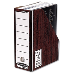 Bankers Box by Fellowes Premium Magazine File Fastfold A4 Plus Woodgrain Ref 0723302 [Pack 10]