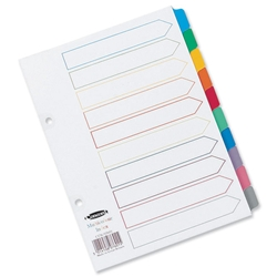 Concord Index Multicolour-tabbed Mylar-Reinforced 2 Holes 10-Part A5 White Ref 07601/CS76 - Item image
