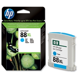Hewlett Packard HP No. 88 XL Cyan Inkjet Print Cartridge 17ml Ref C9391AE