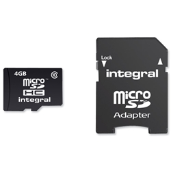 Integral Micro SDHC Media Memory Card with SD Adaptor Capacity 4GB Ref INMSDH4G10-20V2