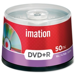 Imation DVD+R Recordable Disk Write-once on Spindle 16x Speed 120min 4.7GB Ref i21750 - Pack 50