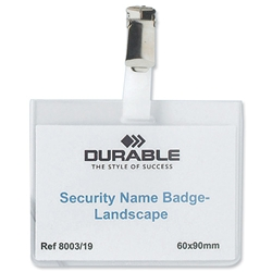 Durable Security Name Badges with Rotating Clip 60x90mm Ref 8603 - Pack 5 - Item image