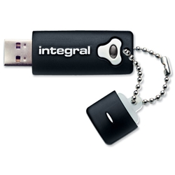 Integral Splash Flash Drive Rubberised Casing USB 2.0 with Software 8GB Black Ref INFD8GBSPLBK