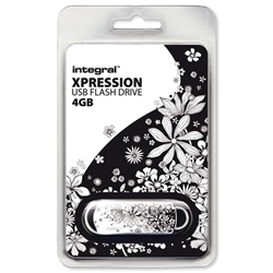 Integral Xpression 4GB USB Flash Drive Flowers Motif Ref INFD4GBXPRFLO - Item image