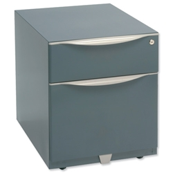 Trexus Sonix Filing Pedestal Steel Low Under-desk 2 Drawer Foolscap W420xD564xH495mm Grey Ref WVA59MSF-f4