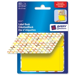 Avery Pad Book of Removable Labels 89x25mm to 89x51mm Squares Yellow Ref 8322 - 80 Labels - Item image