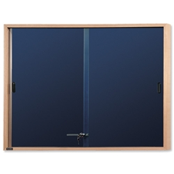 Nobo Slimline Lockable Display Cabinet Noticeboard Sliding Door Oak W1000xH825mm Blue Ref 32632503
