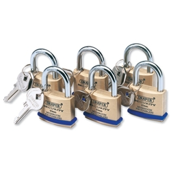Draper Solid Brass Padlocks with Identical Keys and Hardened Steel Shackle 40mm Ref 67659 - Pack 6