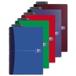Oxford Office Notebook Wirebound Hard Cover Ruled 180pp 90gsm A4 Assorted Ref 100102099 - Pack 5