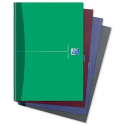 Oxford Office Notebook Casebound Hard Cover Ruled 192pp 90gsm A4 Assorted Ref 100105005 - Pack 5