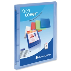 Exacompta Kreacover A4 Ring Binder Polypropylene 15mm 4-Ring Translucent Blue Ref 51962E - Pack 12 - Item image