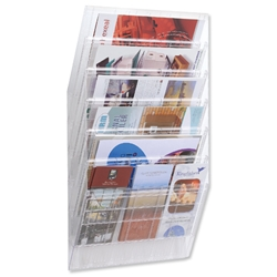 Durable Flexiboxx Literature Holder Wall-mountable 6 Pockets Landscape A4 or 12x A5 Clear Ref 1709785400