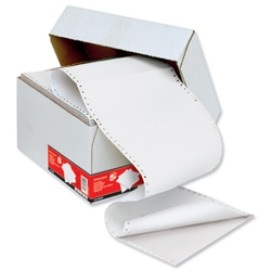 5 Star Office Listing Paper 2-Part Carbonless Perforated 60gsm 11inchx241mm Plain - 1000 Sheets