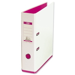 Elba MyColour Lever Arch File Polypropylene Capacity 80mm A4 White and Pink Ref 100081031
