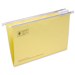 5 Star Suspension File Manilla Heavyweight with Tabs and Inserts Foolscap Yellow Ref 100331401 - Pack 50-4Draw