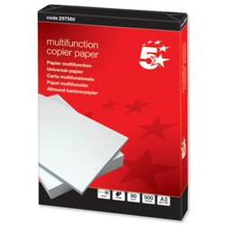 5 Star Multifunctional Office Copier Paper 80gsm A3 White - 500 Sheets- greenpaper