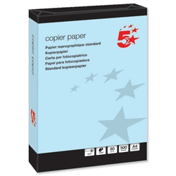 5 Star Multifunctional Office Coloured Copier Paper Ream-Wrapped 80gsm A4 Blue - 500 Sheets