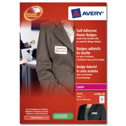 Avery L4784 Name Badge Self-adhesive Labels 63.5x29.6mm White Ref L4784-20 - 540 Labels