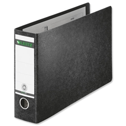 Leitz Board Lever Arch File Oblong Landscape 77mm Spine A4 Black Ref 1074-00-95 [Pack 4]