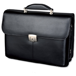 Alassio Briefcase with Laptop Compartment Shoulder Strap Leather Black Ref 47012 - Item image