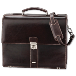 Alassio Monaco Laptop Bag with Shoulder Strap Leather Dark Brown Ref 47022