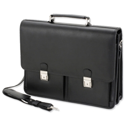 Alassio Vento Briefcase for 15.4in Laptop with Organiser Shoulder Strap Leather-look Black Ref 47118