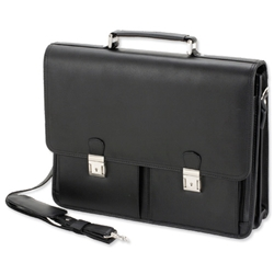 Alassio Vento Briefcase for 15.4in Laptop with Organiser Shoulder Strap Leather Black Ref 47117
