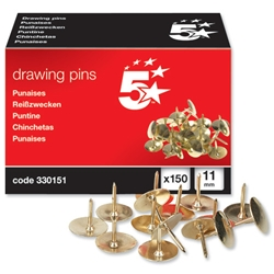 5 Star Brass Drawing Pins - Box of 150
